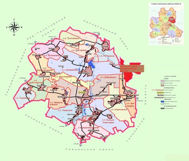 Схема положения села